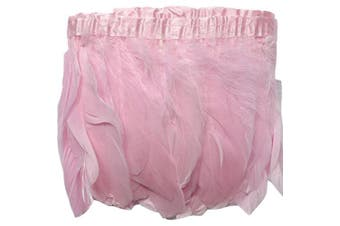 (pink) - ADAMAI 2 Yards Goose Feathers Trims Fringe DIY Dress Sewing Crafts Costumes Decoration (Pink)