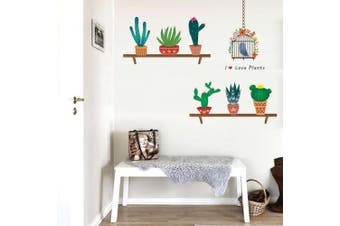 (Reference, Flower Birdcage Potted Cactus) - BIBITIME Flower Birdcage Wall Decal Birds Sayings I love Plants Quotes Potted Cactus Vinyl Stickers for Dining Room Kitchen Nursery Bedroom Children Baby Kids Room Decor Home Art PVC Mural