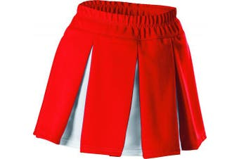 (Small, Red / White) - Alleson Girls Cheerleading Multi Pleat Skirt