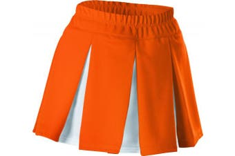 (Small, Orange/White) - Alleson Girls Cheerleading Multi Pleat Skirt
