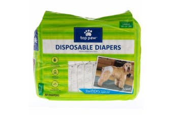 (Large) - Top Paw Disposable Dog Nappies - 30 Pack