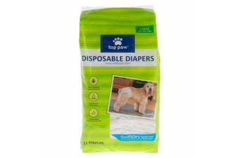 (Large) - Top Paw Disposable Dog Nappies - 12 Pack