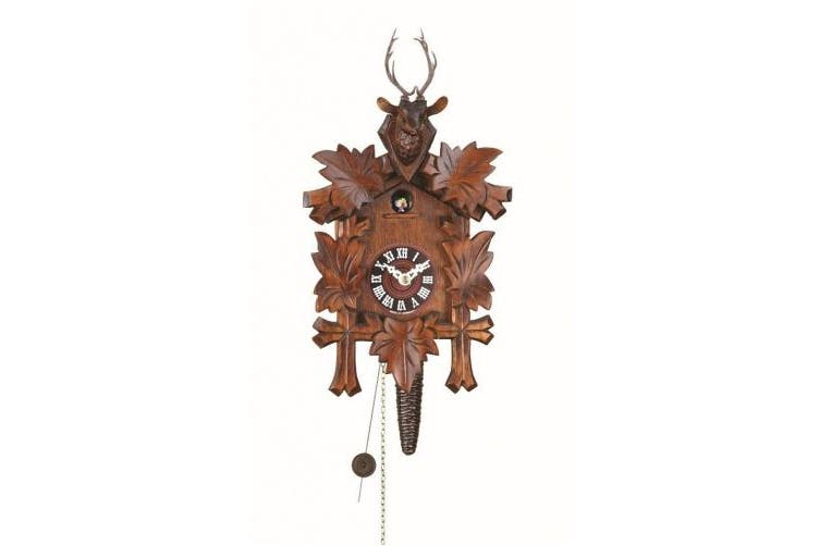 Quarter call cuckoo clock with 1-day movement Five leaves, head of a deer TU 624 nu
