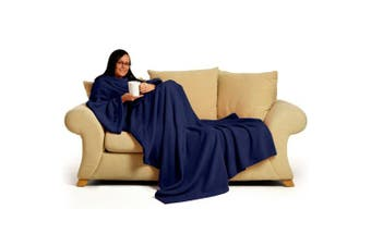 (Navy Blue) - Snug~Rug Deluxe Coral Fleece... The Blanket with Sleeves, Adult 150cm x 210cm - NAVY BLUE