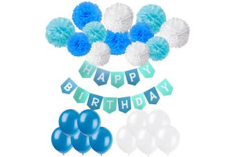Happy Birthday Banner, Cocodeko Birthday Bunting Paper Garland with 12pcs Tissue Paper Pom Poms and 20pcs Balloons for Birthday Party Decorations - Blue, Sky Blue and White