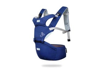(Blue) - SONARIN Front Premium Hipseat Baby Carrier, Multifunctional, Ergonomic, 100% cotton, butterfly rotary buckle, 6 Carrying Positions,Safe and Comfortable, Adapted to Your Child's Growing,Easy to Carry and Easy Mom, Ideal Gift(Blue)