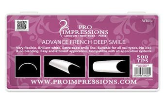 (SIZE 8) - Advance French White Deep Smile Nail Tips Proimpressions (SIZE 8)