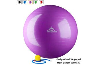(55cm Purple Gym Ball, Purple) - Black Mountain Products 910kg Static Strength Exercise Stability Ball with Pump