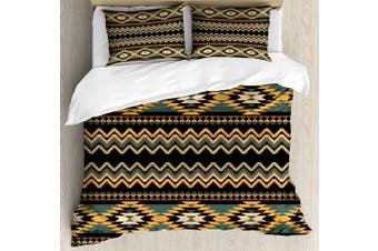 (King, Multi 1) - Aztec King Size Duvet Cover Set by Lunarable, Geometrical Indigenous Borders Waves Chevron Old Fashioned Native Art, Decorative 3 Piece Bedding Set with 2 Pillow Shams, Black Marigold Bluegrey