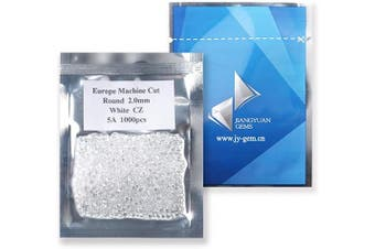 (2.0mm) - 1000PCS 2.0MM 5A Round Machine Cut White Cubic Zirconia Stone Loose CZ Stones JIANGYUANGEMS (2.0mm)