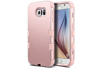 (Rose Gold) - Galaxy S6 Case, S6 Case, ULAK Fashion Hybrid 3 Layer Shockproof Soft Silicone Hard PC Shell Cover Case for Samsung Galaxy S6 (Rose Gold)