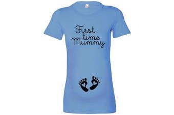 (M - 10/12, Sky Blue / Black Print) - beyondsome Women's 'First Time Mummy' Ladies Maternity T-Shirt