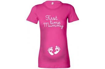 (S - 8, Fuchsia Pink / White Print) - beyondsome Women's 'First Time Mummy' Ladies Maternity T-Shirt
