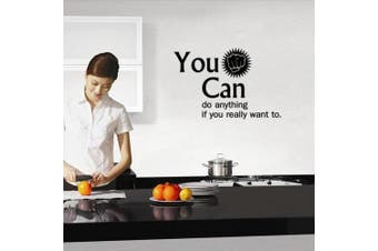 (Reference, You Can Do Anything If You Really Want to Do) - BIBITIME Art Fist Quotes You Can do anything if you really want to do Vinyl Wall Decal Sayings Inspirational Sticker for Kitchen Window Tile Living Room Background