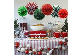 (Christmas) - Party Hanging Paper Fans Set, Round Pattern Paper Garlands Decoration for Party Birthday Christmas Events Accessories, Set of 6(Green, Red and White)