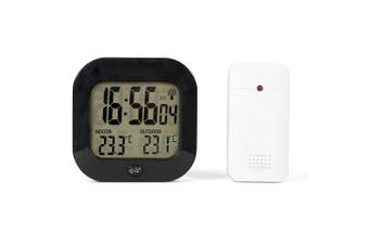 Tecvance Temperature Monitor – Weather Station with Radio-Controlled Clock – Digital Thermometer with Indoor and Outdoor Temperature Display in °C & °F