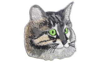 (cat) - Avega Embroidered Iron on Pieces Applique Patch Cat Kitten Pets 8cm by 8cm