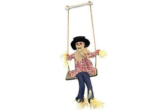 (Swinging Scarecrow) - SCARY HALLOWEEN ANIMATRONIC SCARECROW DECORATION - NOISE ACTIVATED CREEPY SCARECROW WITH MOTORISED LEGS, SCARY SOUND EFFECTS AND GLOWING RED EYES - PERFECT DECORATION FOR HALLOWEEN EVENTS