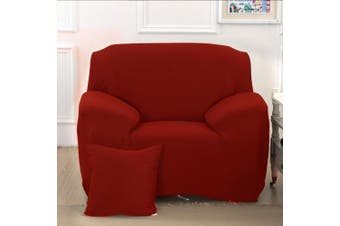 (1 Seater, Red) - Reelva Sofa Cover Slipcover Easy Stretch Fit Elastic Fabric Couch Sofa Protector Slip Cover Washable (1 Seater, Red)