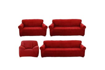 (3 Seater, Red) - Reelva Sofa Cover Slipcover Easy Stretch Fit Elastic Fabric Couch Sofa Protector Slip Cover Washable (3 Seater, Red)