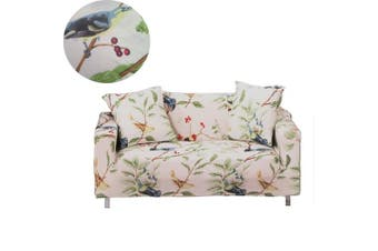 (3 Seater, Bird Pattern) - Sofa Slipcover Stretch Fabric Flower Bird Pattern Elastic Chair Loveseat Couch Settee Sofa Covers 1-Piece Pet Dog Protector (3 Seater, Bird Pattern)