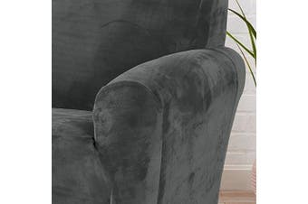 (Chair, Wild Dove Grey) - Form Fit, Slip Resistant, Stylish Furniture Shield / Protector Featuring Velvet Plush Fabric. Gale Collection Strapless Slipcover by Great Bay Home Brand. (Chair, Wild Dove Grey)
