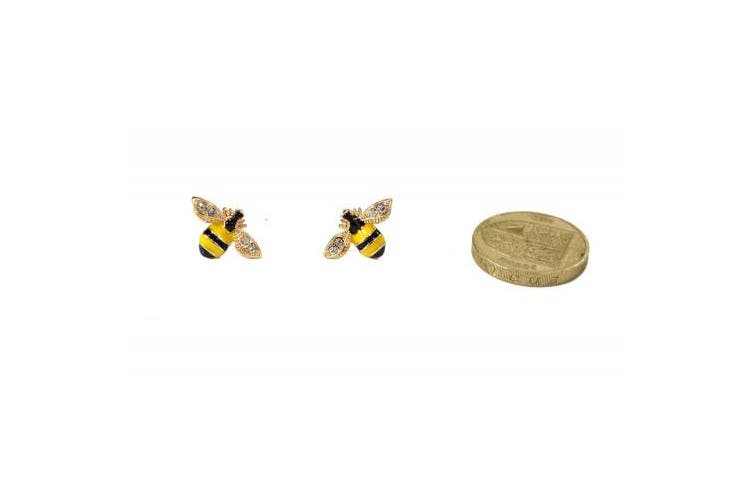 Enamel and Crystal Super Cute Bumble Bee Stud Earrings (in Organza Bag)