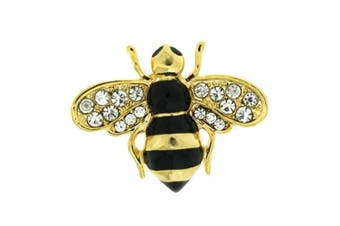 Brooches Store Small Black Enamel Gold and Crystal Bumble Bee Brooch