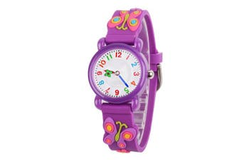(Purple Butterfly) - Venhoo Kids Watches Cartoon Waterproof Silicone Children Wristwatches Time Teacher Gifts for Boys Girls
