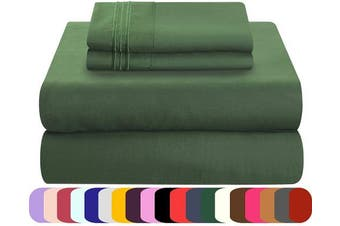 (Twin, Emerald Green) - Mezzati Luxury Bed Sheets Set - Sale - Best, Softest, Cosiest Sheets Ever! 1800 Prestige Collection Brushed Microfiber Bedding (Emerald Green, Twin)