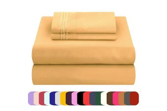 (gold, twin) - Mezzati Luxury Bed Sheets Set - Sale - Best, Softest, Cosiest Sheets Ever! 1800 Prestige Collection Brushed Microfiber Bedding (Gold, Twin)