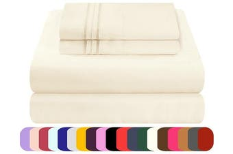 (Full, Ivory) - Mezzati Luxury Bed Sheets Set - Sale - Best, Softest, Cosiest Sheets Ever! 1800 Prestige Collection Brushed Microfiber Bedding (Ivory, Full)