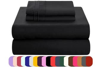 (Twin, Black) - Mezzati Luxury Bed Sheets Set - Sale - Best, Softest, Cosiest Sheets Ever! 1800 Prestige Collection Brushed Microfiber Bedding (Black, Twin)