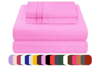 (Twin, Pink) - Mezzati Luxury Bed Sheets Set - Sale - Best, Softest, Cosiest Sheets Ever! 1800 Prestige Collection Brushed Microfiber Bedding (Pink, Twin)