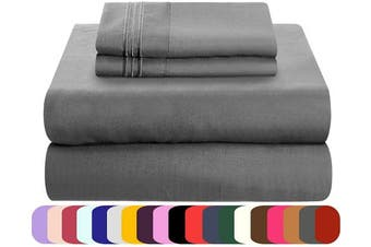 (gray, king) - Mezzati Luxury Bed Sheets Set - Sale - Best, Softest, Cosiest Sheets Ever! 1800 Prestige Collection Brushed Microfiber Bedding (Grey, King)