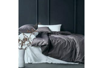 (Queen, Lilac Gray) - Solid Colour Egyptian Cotton Duvet Cover Luxury Bedding Set High Thread Count Long Staple Sateen Weave Silky Soft Breathable Pima Quality Bed Linen (Queen, Lilac Grey)
