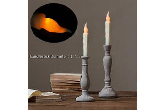 (Yellow) - Battery Operated Vivid Fake Wax Dipped Amber Flickering Led Small Candles With Timer (6 Hrs on 18 Hrs off) Warm Glow Window Votive For Candlesticks Table Flameless Timing Function Led Taper Candle