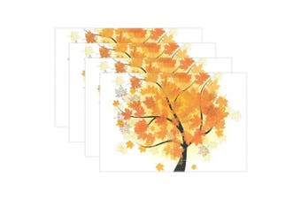 (6 placemats) - U LIFE Vintage Happy Thanksgiving Day Maple Leaves Trees Plate Place Mats Placemats Placemat Tray Mat 30cm x 46cm