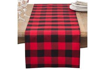 "(16""x72"" Table Runner) - Fennco Styles Buffalo Plaid Cheque Classic Cotton Blend Table Runner (41cm x 180cm Table Runner)"