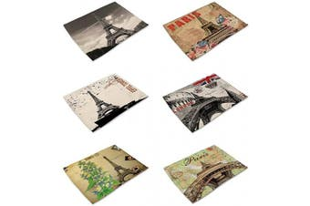 (Pairs-4) - HACASO Set of 6 Vintage Style Paris Pattern Dining Table Mats Cotton Linen Placemats(4)