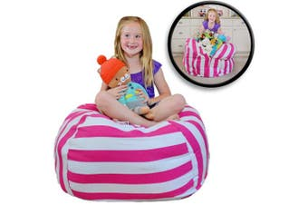 (100cm , Pink/White Stripe) - Creative QT Extra Large Stuff 'n Sit - Stuffed Animal Storage Bean Bag Chair for Kids - Pouffe Ottoman for Toy Storage - Available in 2 Sizes and 5 Patterns (100cm , Pink Stripe)