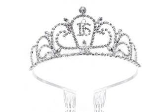 (Sliver_6) - Crystal Rhinestone Sweet 16 Floral Heart Tiara,Sliver 6