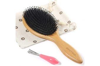 (Round) - BESTOOL Hair Brush, Boar Bristle Hair Brushes for Women men Kid, Boar & Nylon Bristle Brush for Wet/Dry Hair Smoothing Massaging Detangling, Everyday Brush Enhance Shine & Health (Round)