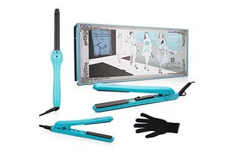 Brilliance New York - Trio Flat and Curling Irons Set: 3.2cm Diamond and Ceramic Flat Iron + 1.3cm Mini Diamond Flat Iron + 2.5cm Clipless Curling Iron, Turquoise