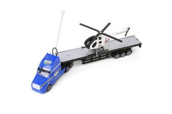 Blue Semi Truck Trailer 50cm Hauler Remote Control RC Transporter Truck Full Cargo Big Rig with Helicopter