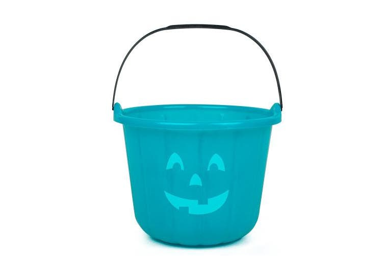 Teal Pumpkin Halloween Trick or Treat Bucket 22cm - Official Teal Pumpkin Project Allergy-Friendly Candy Accessory - All Sales Supports F.A.R.E.