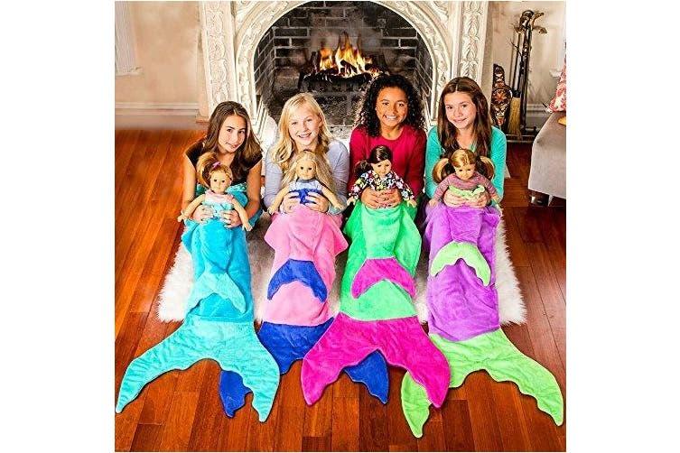 (Ocean Blue/Aqua) - The Original Blankie Tails Mermaid Tail Blanket (Youth Size), Ocean Blue/Aqua