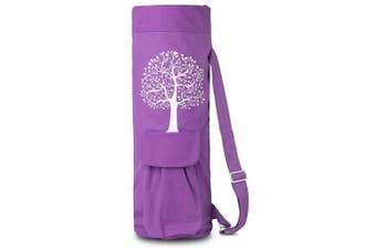 (Purple) - BalanceFrom GoYoga Full Zip Exercise Yoga Mat Bag with Multi-Functional Storage Pockets [Fits Both 1.3cm and 0.6cm Thick Mats]