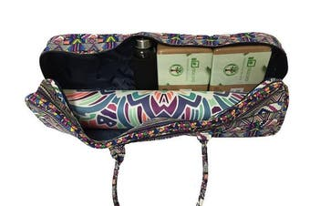 (Zuma) - All-in-one Yoga Mat Bag with Pocket and Zipper - Patterned Canvas