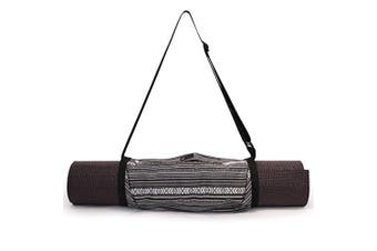 (Black/White) - Aurorae Yoga Mat Bag   Mat Sling Carrier   Large Outside Zip Closure Pocket